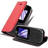 Cadorabo Hülle für Nokia 105 DUAL in Apfel ROT - Handyhülle mit Magnetverschluss, Standfunktion & Kartenfach - Hülle Cover Schutzhülle Etui Tasche Book Klapp Style