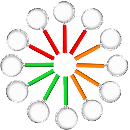12x Lupen Set Kinder gemischte Farben| Lupe f. Forscher & Detektive zum erforschen von Insekten Pflanzen usw. | Taschenlupe als Mitgebsel Mitbringsel Gastgeschenk Giveaways zum Kindergeburtstag