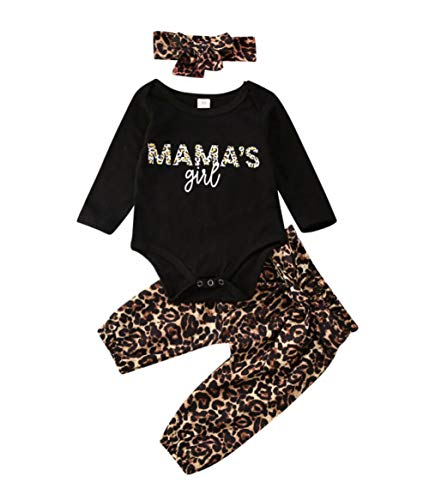 Carolilly Neugeborenes Baby Mädchen Langarm Body Romper Overalls +Leoparden Hosen Outfits Set 3Pcs Kleidung Set (3-6 Monate, Mama's Girl/Langarm)