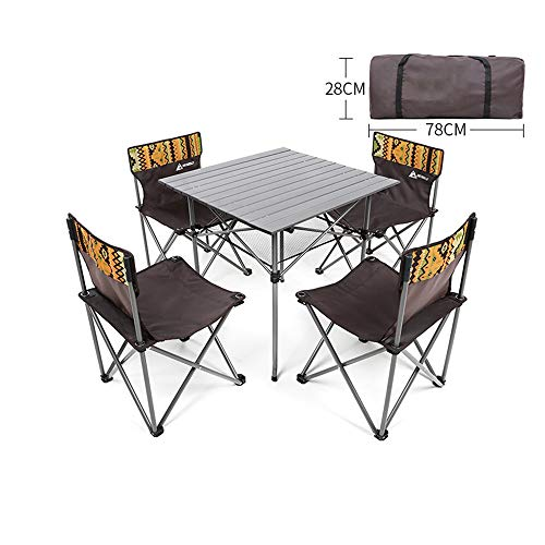Outdoor Klapptisch und Stuhl Kombination tragbare Aufbewahrung Camping Freizeit Tisch einfach zu verstauen leicht zu falten tragfähig stark mit Aufbewahrungstasche Design fünfteiliges Set