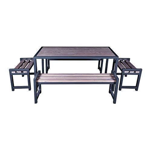 DM Grill Gartenmöbel Set, Metall & Naturholz, Gartengarnitur Tisch + 2 Lange Bänke + 2 kleine Bänke, Grau