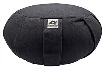 Waterglider International Zafu Yoga Meditation Pillow with USA Buckwheat Fill Certified Organic Cotton- 6 Colors  Black