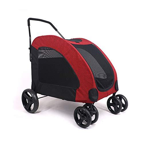 ALHJ Pet kinderwagen medium/large hond drager jogger opvouwbare transportwagen kat reis boodschappentas met wielen voor puppy's