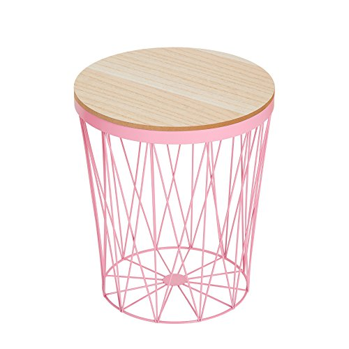 Invicta Interior Moderner Couchtisch Beistelltisch Storage II rosa mit Holzdeckel Korb Aufbewahrung Tisch mit Eiche Ablage Aufbewahrungskorb
