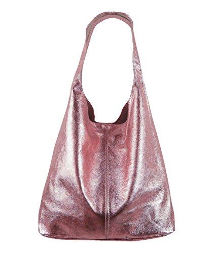 Freyday Damen Ledertasche Shopper Wildleder Handtasche Schultertasche Beuteltasche Metallic look (Rosa Metallic)