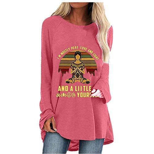 Graphic Long Sleeve Tees for Women Vintage Funny Zen Buddha Yoga Mindfulness Yogi Peace T-Shirt Fall Casual Tunic Tops