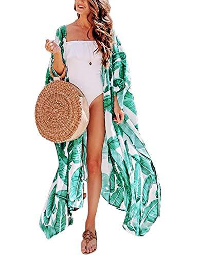 Women's Beach Blouses Kimono Floral Print Green Banana Leaf Cardigan Long Bikini Cover Up Dress