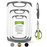 Rottogoon Cutting Boards for Kitchen, Plastic Chopping Board Set of 5 with Non-Slip Feet and Deep Drip Juice...