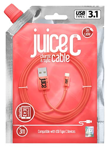 Juice USB Type C 3m Charger and Sync Cable for Samsung Galaxy S10, S9, S8, S20 Plus, Huawei P30, P20,Sony, Apple Ipad 2020, Pro 2020, Air 2020 - Coral