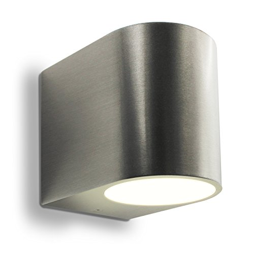 LED Wandleuchte Außenleuchte 1-Flammig Aluminium Up/Down Edelstahl gebürstet GU10-230V (Form:G) (Warmweiß)