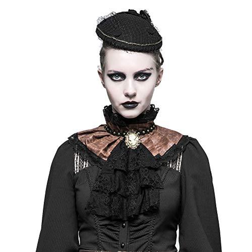 Punk Rave Gothic Damen Krawatte Steampunk Jabot Krawatte Retro Spitze Schal Kaffee L-2XL