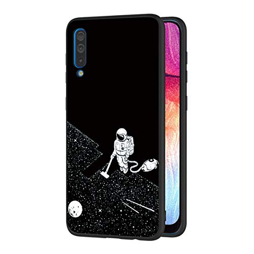 ZhuoFan Funda Samsung Galaxy A50 Cárcasa Silicona Ultrafina Negra con Dibujos Diseño Suave TPU Gel Antigolpes de Protector Piel Case Cover Bumper Fundas para Movil SamsungA50, Espacio