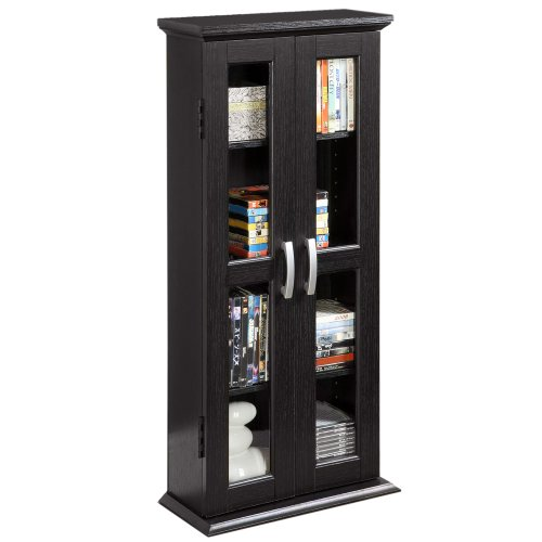 Walker Edison 4 Tier Shelf Living Room Storage Tall Bookshelf Cabinet Doors Home Office Tower Media Organizer, 41 Inch, Black