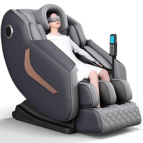Silla de masaje, reclinable, de cuerpo completo, gravedad cero, con control de voz AI, teclas de acceso directo de barandilla, pista SL, Bluetooth, estiramiento de yoga, rodillos de pies, airbags, calefacción (marrón) (gris)