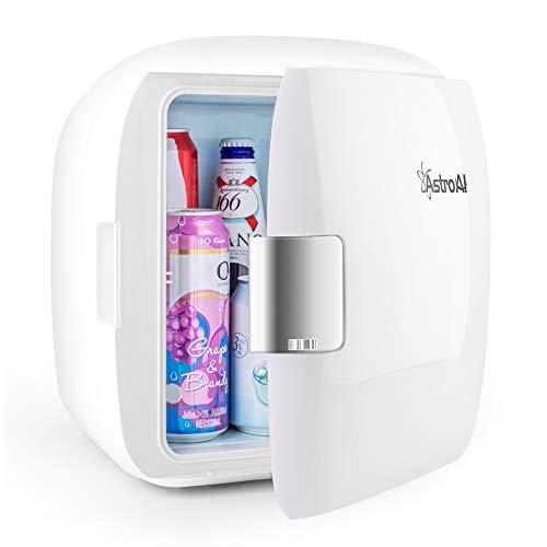AstroAI Mini Refrigerador Portátil para el Skincare 9L, Mini Neveras 220V/12V para Enfriar y Calentar (blanco)