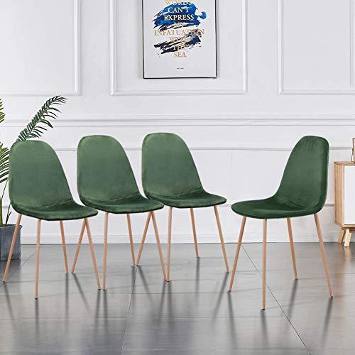 GOLDFAN Ensemble Moderne de 4 Chaises de Salle à Manger Chaise de Cuisine Chaise Rembourrée Chaise de Salon Chaise en Pieds de Métal Velours, Vert