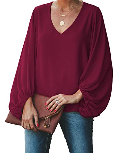 Christmas Blouses for Women, V Neck Balloon Sleeve Chiffon Blouse Loose Fit Oversized Shirt Tops XL Wine Red