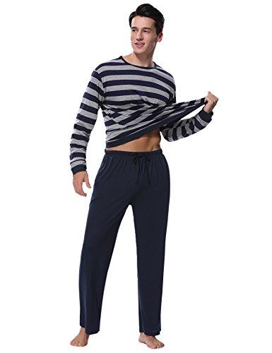 Aibrou Herren Schlafanzug Pyjama Baumwolle Lang Zweiteilig Nachtwäsche Set Langarm Rundhals Dunkelblau XL