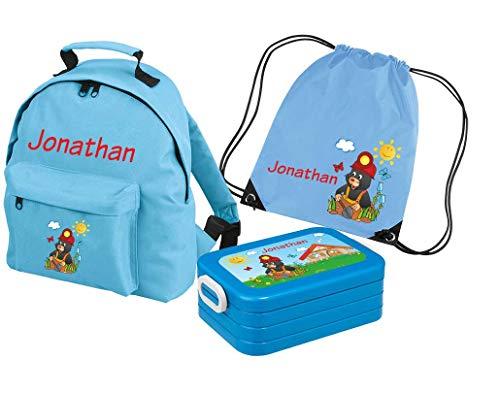 Mein Zwergenland Set 4 Kindergartenrucksack Classic und Brotdose Lunchbox Maxi + Turnbeutel mit Name Maulwurf, 3-teilig, Hellblau