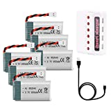 FPVERA 6PCS 3.7V Lipo Battery 650mah XH2.54 Connector with USB Charger + Lipo Battery Charger for Syma X5C X5SW X5C X5SC M68 M62 UAV FPV Drone Quadcopter