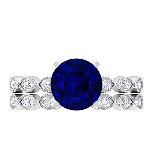 Solitaire Bridal Ring Set, 2.64 CT Round Gemstones, D-VSSI Moissanite 8 MM Blue Sapphire, Cathedral Ring with Side Stones, Marquise Wedding Band, 14K White Gold, Blue Sapphire, Size:UK N1/2