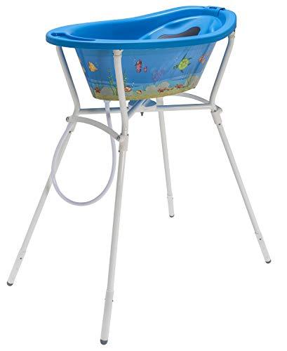 Rotho Babydesign Komplett Badeset Ocean StyLe! mit Wanne und Klapp-Ständer, 0-12 Monate, Max 25kg, Blau, 21061012501 4-teilig