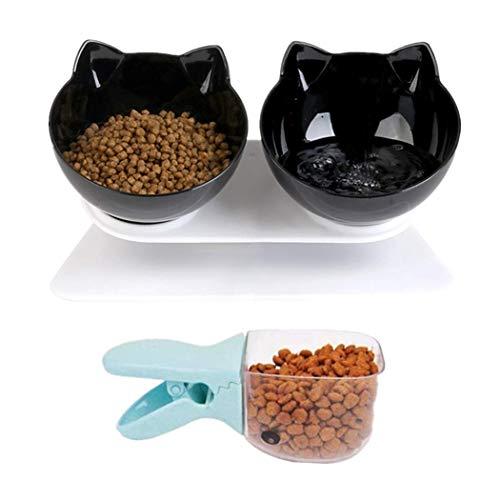 Legendog Cuenco del Gato, Tazón para Mascotas Antideslizante Doble Comedero Gato 15° Inclinación para Protector del Cuello con Soporte Elevado y Cuchara de Comida 27.5 * 14 * 14cm