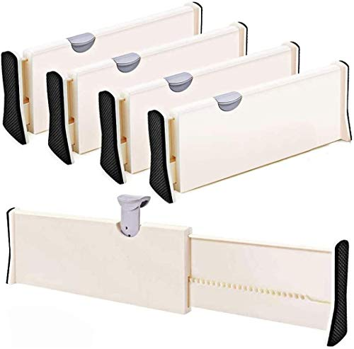 Drawer Dividers 11-173 Adjustable Dresser Drawer Organizers Drawer Separators for Silverware and Utensils Tray Organizer for Kitchen Drawer Bathroom Bedroom Office or Dresser Storage - 4 Pack