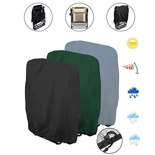 DIPOLA Schutzhülle für Klappstuhl Liegestuhl Sonnenliege Deckchair Abdeckung Wasserdicht Anti-UV Gartenmöbel Schutz vor Wettereinflüssen und Beschädigungen 210D Oxford 110cmX71cm (Gray)