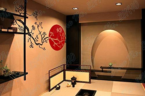 whmyz Sakura Rising Sun japonés Flor de Cerezo Rama de árbol Restaurante decoración bambú extraíble Vinilo Arte Pared Pegatina-Color_42X81cm
