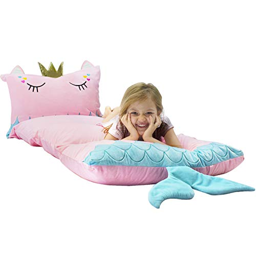 Yoweenton Mermaid Kids Floor Pillows Bed Cover Queen Size Fold Out Floor Lounger Chair Bed for Girls Floor Cushion for Kids Seating Room Decoration, Cover ONLY