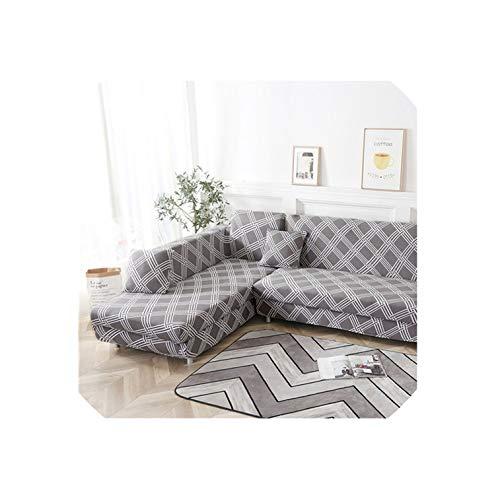 U-see - Copridivano elasticizzato elasticizzato per soggiorno, 2 pezzi, copridivano a forma di L, colore 5, 3 posti e 3 posti, Colore 1, 2-SeatAnd2-Seat