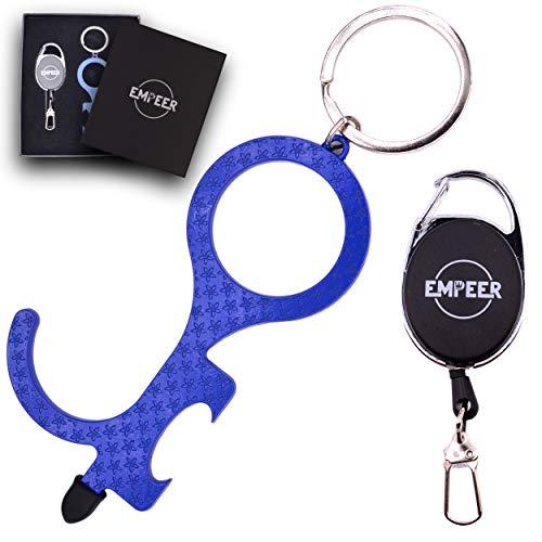 EMPEER - Apriporta senza contatto - Chiave - Apriporte - gancio per chiavi - scatola regalo - bobina - anti virus - con anelli - chiusura con gancio - apribottiglie - Apri Porta - No Touch (blu)