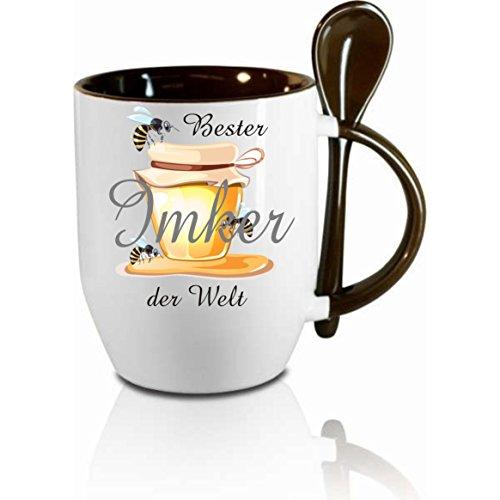 Creativ Deluxe Tasse m. Löffel Bester Imker der Welt Löffeltasse, Kaffeetasse mit Motiv,Bürotasse, Bedruckte Tasse mit Sprüchen oder Bildern - auch individuelle Gestaltung nach Kundenwunsch