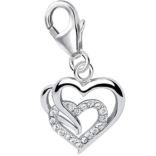 Colgante de filigrana en forma de corazón para pulsera de abalorios de plata de ley 925 con circonitas.