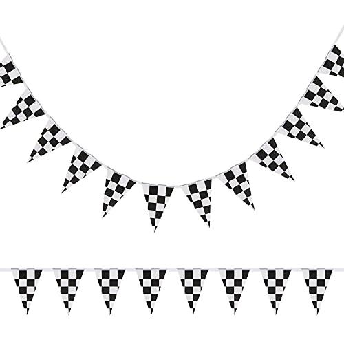 10 Meter karierte Wimpel Banner Rennflagge Party Zubehör für Rennen