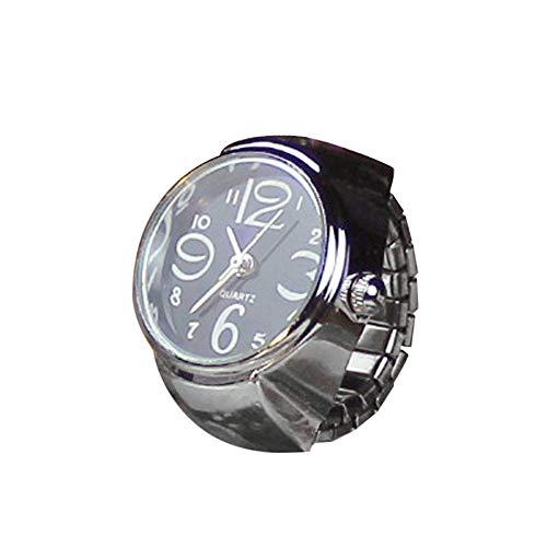 Uhren 2 PCS Kreative Mode-Legierung Silber Shell Disc-Uhr-Ring (rot) Asun (Color : Black)