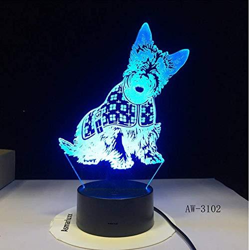 Diapositiva regalo Schnauzer miniatura Papillon Corgi Dog Lámpara diseñada Ilusión 3D Luz nocturna Mascota Cachorro Raza LED Lámpara de mesa de luz nocturna 3