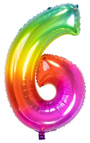 Folat 63246 Folienballon Yummy Gummy Rainbow Ziffer/Zahl 6-86 cm, Mehrfarbig