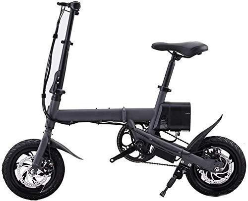Bicicleta Eléctrica Bicicleta eléctrica de 12 pulgadas Bici plegable 350W con batería de litio 36V y freno de disco, película compacta plegable liviana para desplazamiento y ocio (negro) Batería de li