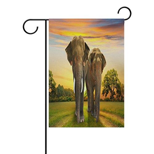 ALAZA éléphants Famille sur Coucher de Soleil Bienvenue Jardin Drapeau Double Face, Animal dans la forêt Seasonal Maison extérieur Yard Drapeaux 30,5 x 45,7 cm, Tissu, Multicolore, 12x18(in)