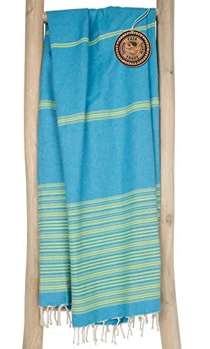 ZusenZomer Hamamtuch XL - 100x190 - Fouta Hammam Badetuch Strandtuch Saunatuch - 100% gekämmte Baumwolle Oeko-TEX® - Fair Trade Hamamtücher (Türkis Lime)