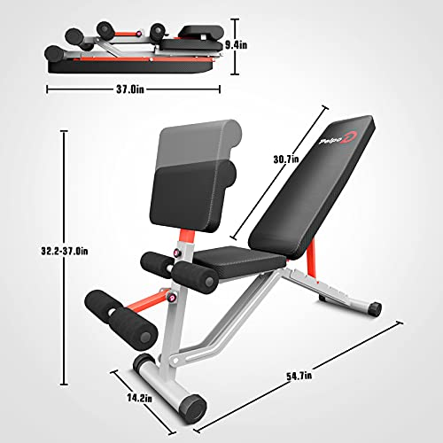 pelpo Weight Bench for Full Body Workout, Adjustable Strength Training Bench Press in Home Gym, Sliver