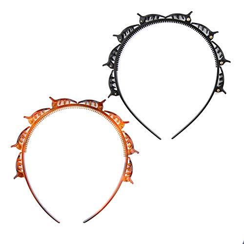 LUTER 2 piezas de doble capa trenzada, doble flequillo, horquillas para el pelo, herramienta para el pelo, con pinzas de cocodrilo...