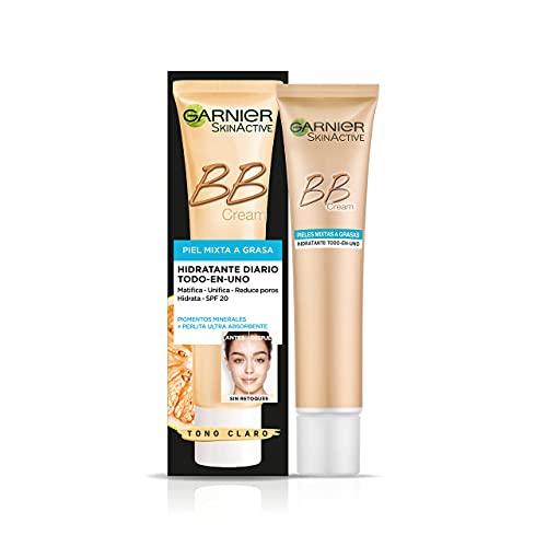 Garnier Skin Active BB Cream Matificante Crema Correctora y Anti Imperfecciones para Pieles Mixtas a Grasas, Tono Claro SPF20 con Vitamina C - 40 ml