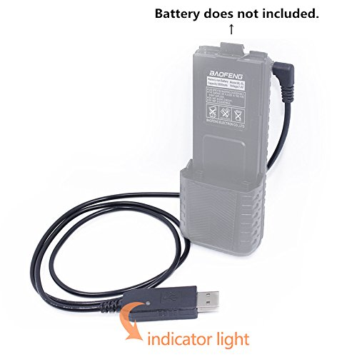 Baofeng 2.5mm USB Charger Cable with Indicator Light for BaoFeng UV-5R 3800mAh BL-5L High Capacity Battery