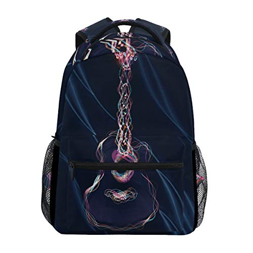 Space Art Gitarre Schulter Rucksack Bookbag für Teen Jungen Mädchen Kinderrucksack Laptop Büchertasche Rucksäcke