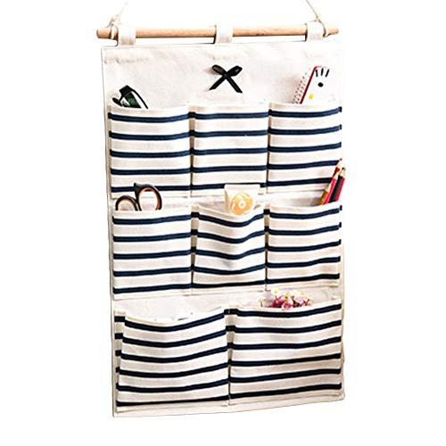 Eamoney Hanging Storage Bag Stripe Multi-Mounted Living Room Bathroom Wall Door Closet Hanging Bag Organizer for Phone Keys 4#