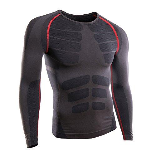 Rmine Herren Funktions Thermo Unterhemden Unterwäsche Kompressionsshirt Langarm Warme (Grau-rot, L)
