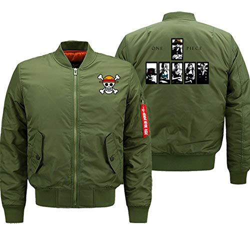 FHKGCD One Piece Cartoon Winter Coat Thick Motorcycle Bomber Jackets Men Hip Hop Anime Print  Jacket Coat Thick,Army Green,S